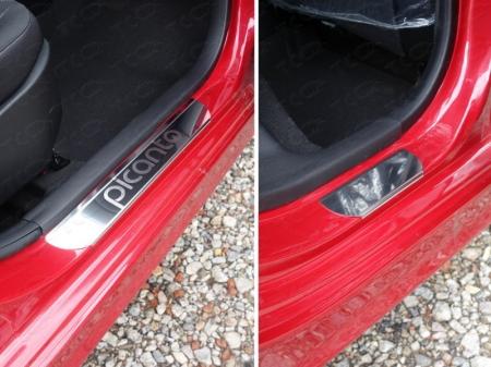 Накладки на пороги (лист зеркальный надпись Picanto) Kia Picanto 2015 KIAPIC15-05